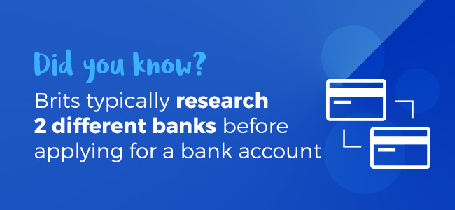 Brits research x2 banks before applying for a bank account